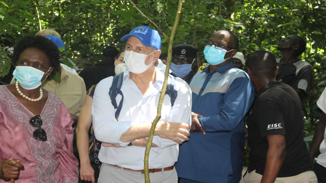 EU head of delegations to Uganda with minister of environment and Friends of Zoka members visit the depleting Zoka Forest